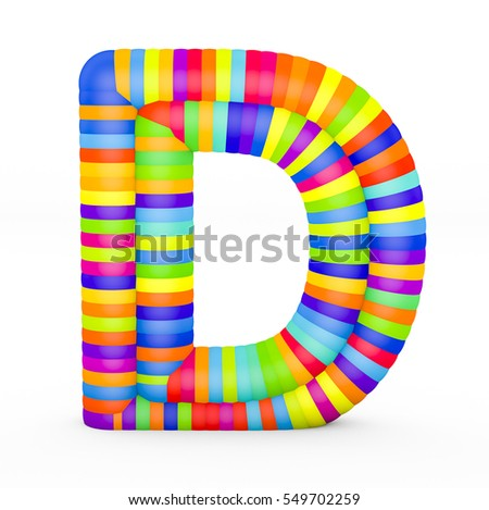 3d render letter D made with colorful plastic fragments on a white background.