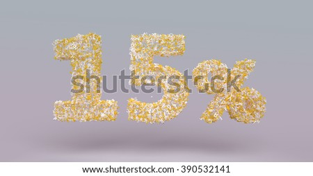 3D render letter particles text of 15 percent
