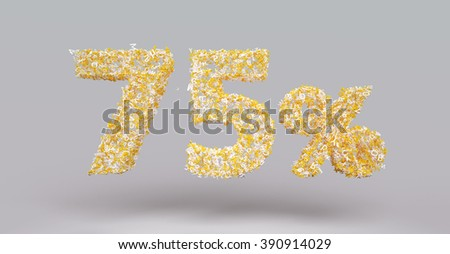 3D render letter particles text of 75 percent