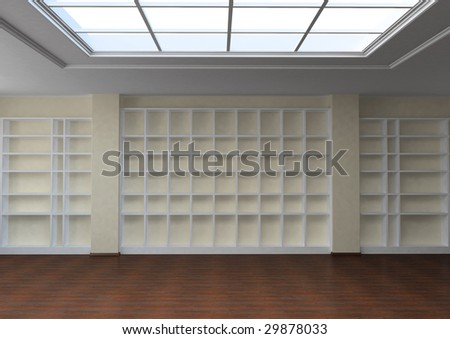3d render library interior