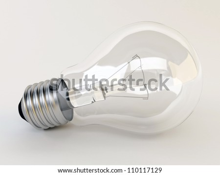 3d render light bulb lies on the surface - stock photo