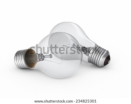 3d render Light Bulb perspective view (isolated on white and clipping path) - stock photo