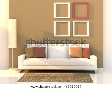 3d render living room, modern room - stock photo