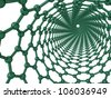 3d render looking through a chiral carbon nanotube - stock photo