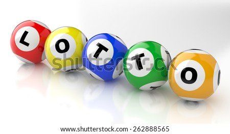 3d render lottery color balls - stock photo