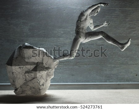 3D render. Men's figure made of stone.   3D Render