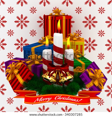 3D Render: Merry Christmas Burning candles with golden bells, christmass colored gifts and sprigs of christmas tree isolated on white-red snow background - stock photo