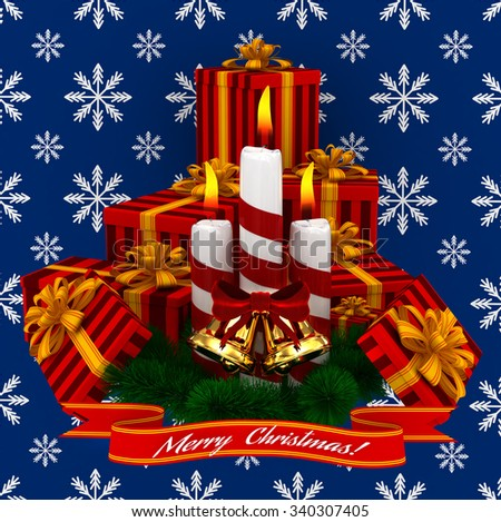 3D Render: Merry Christmas Burning candles with golden bells, christmass red gifts and sprigs of christmas tree isolated on blue snow background - stock photo