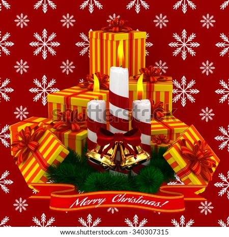 3D Render: Merry Christmas Burning candles with golden bells, christmass yellow-orange gifts and sprigs of christmas tree isolated on red snow background - stock photo