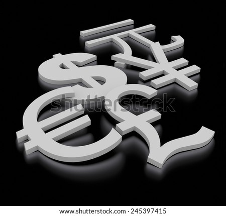 3d render metal currency symbols for dollar, euro, pound, yen, yuan on a black background.