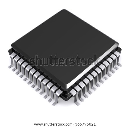 3D Render Microchip isolated on white background. - stock photo