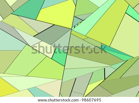 3d render mixed green fragmented wall floor surface - stock photo