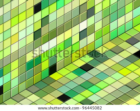 3d render mixed green tiled wall floor pavement - stock photo