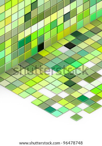 3d render mixed green tiled wall floor pavement on white - stock photo