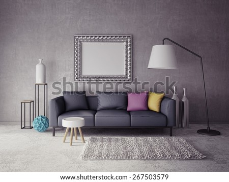 3d render.  modern interior room with a beautiful furniture
