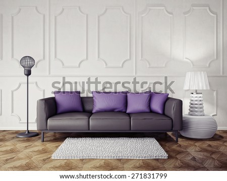 3d render.  modern interior room with a beautiful furniture - stock photo