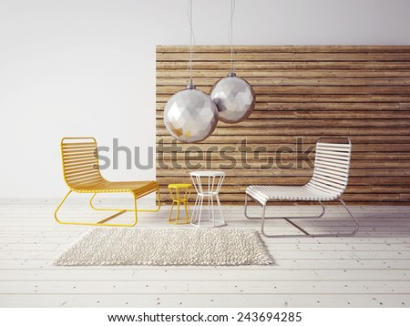 3d render. modern interior room with a beautyful furniture. - stock photo