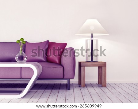 3d render. modern interior room with a beautyful furniture.