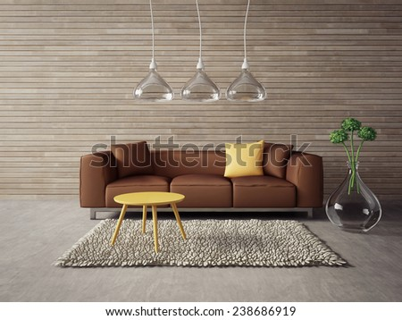 3d render. modern interior with a beautiful furniture - stock photo