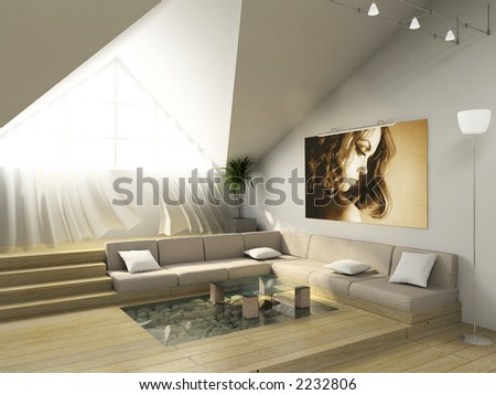 3D render. Modern room in the big house.