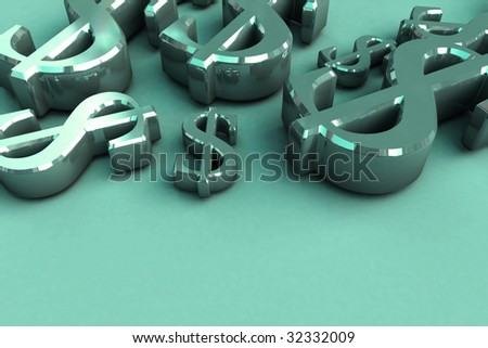 3D Render Money Signs - stock photo