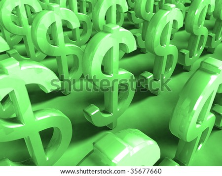 3D Render Money Signs - green background - stock photo