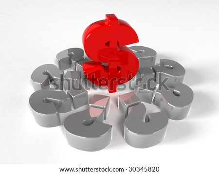 3D Render - Money Signs - Question Signs - stock photo