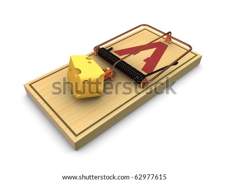 Piggy bank and mouse trap isolated on white background - stock photo