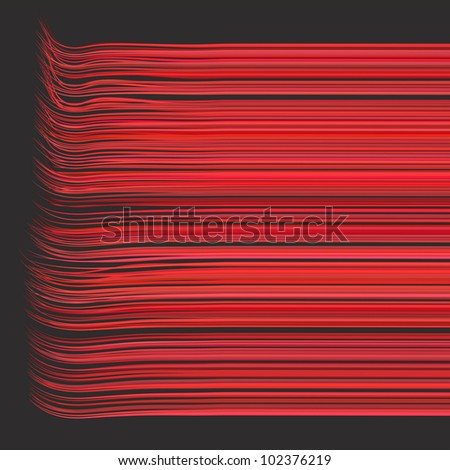 3d render multiple wavy lines in different red pink - stock photo