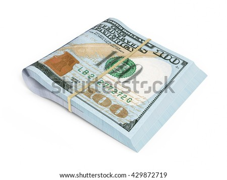 3D render New Hundred dollar banknotes closeup (isolated and clipping path)