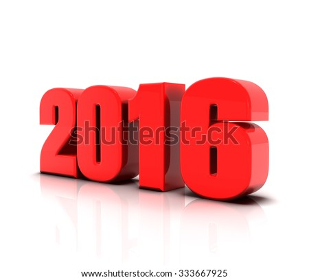 3d render new year 2016 - stock photo