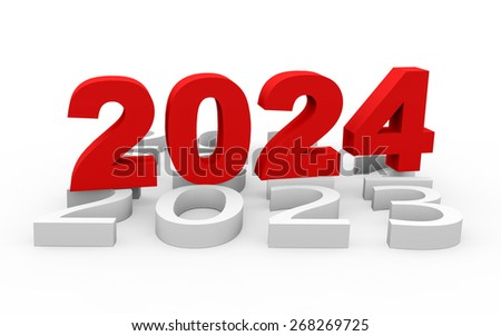 3d render New Year 2024 and next years on a white background.