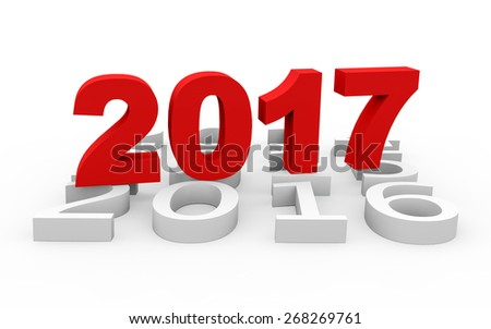 3d render New Year 2017 and next years on a white background.