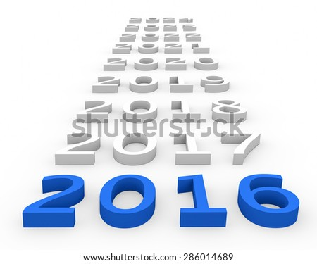 3d render New Year 2016 and next years on a white background.  - stock photo