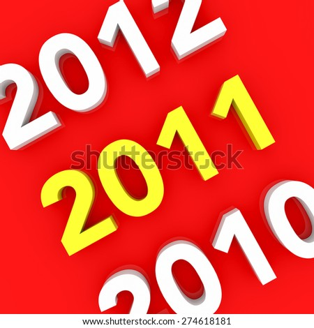 3d render New Year 2011 and past and next years on a red background.  - stock photo