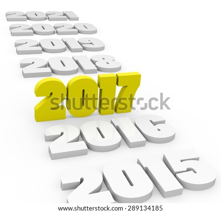 3d render New Year 2017 and past and next years on a white background.  - stock photo
