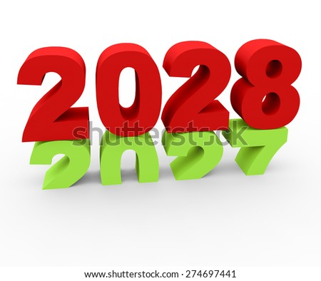 3d render New Year 2028 and past year 2027 on a white background.