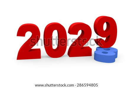 3d render New Year 2029 and past year 2028 on a white background.