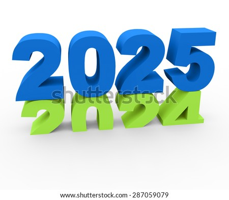 3d render New Year 2025 and past year 2024 on a white background.