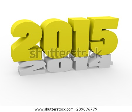 3d render New Year 2015 and past year on a white background.