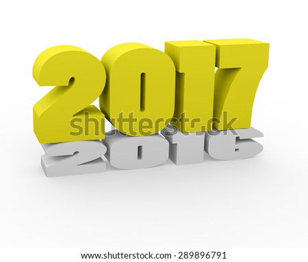 3d render New Year 2017 and past year on a white background.