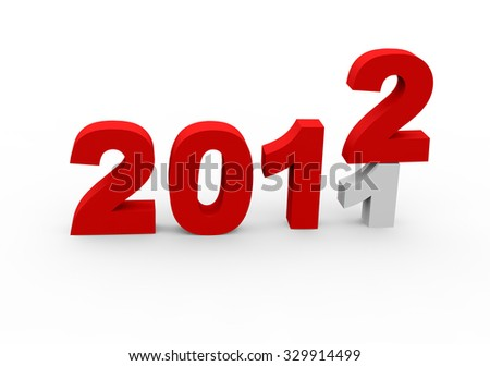 3d render New Year 2012 and past year 2011 on a white background.  - stock photo