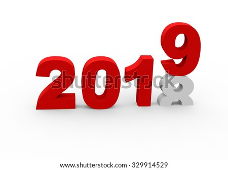 3d render New Year 2019 and past year 2018 on a white background.  - stock photo
