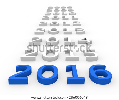 3d render New Year 2016 and past years on a white background. - stock photo