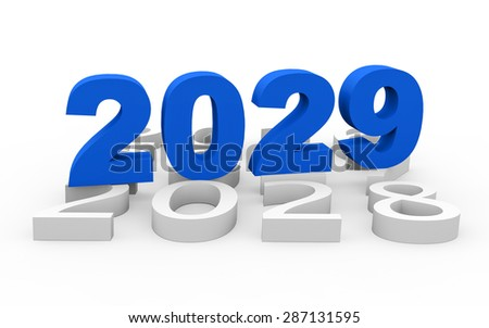 3d render New Year 2029 and past years on a white background.