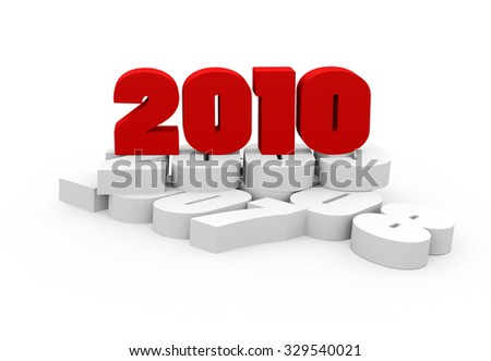 3d render New Year 2010 and past years on a white background.   - stock photo