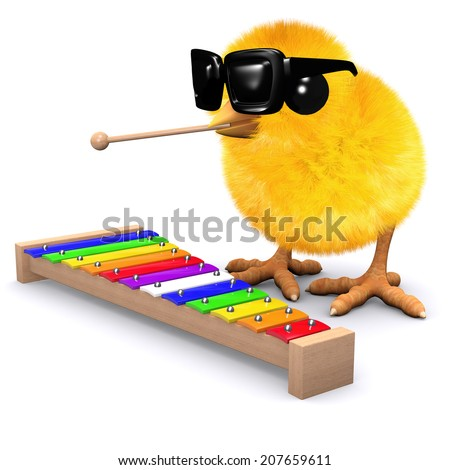 3d render of a baby chick playing a xylophone - stock photo