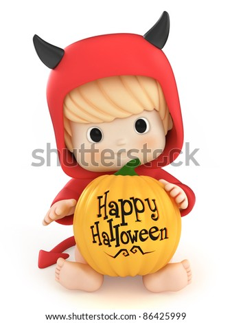 3D render of a baby in a devil costume - stock photo