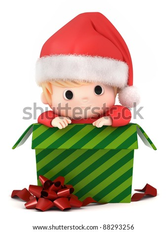 3D Render of a baby in a gift box