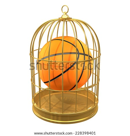 3d render of a basketball in a birdcage. - stock photo